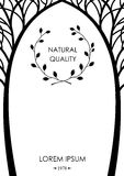 Cover from silhouettes of trees. Cover of stylized silhouettes of trees with graphic patterns, card, label. Vector graphics Royalty Free Stock Photos