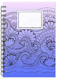 Cover tangle zen design with waves of the notebook Stock Photography