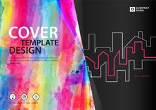 Cover template for business industry, Real Estate, building, home,Machinery, other. polygonal background, Horizontal layout. Business brochure flyer, annual Stock Image