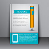 Cover template with pencil and ribbon Royalty Free Stock Photography