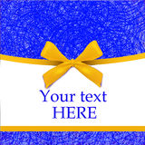 Cover template with realistic yellow bow. Blue-yellow Royalty Free Stock Photography