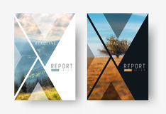 Cover template for a report in a minimalistic style with triangu. Lar design elements for a photo. A set of modern flyers for business or trips with photos of Royalty Free Stock Images