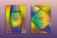 Cover templates with holographic layers. Trendy bright brochures or labels backgrounds.  vector illustration