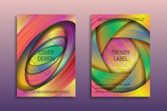 Cover templates with holographic layers. Trendy bright brochures or labels backgrounds.  royalty free illustration