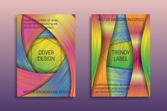 Cover templates with holographic layers. Trendy bright brochures or labels backgrounds.  stock illustration