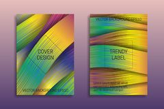 Cover templates with holographic ribbons. Trendy bright brochures or labels backgrounds.  royalty free illustration