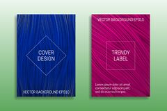 Cover templates of saturated color. Trendy blue and pink brochures backgrounds.  royalty free illustration