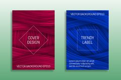 Cover templates with volumetric strokes. Trendy brochures backgrounds in pink and blue shades.  stock illustration