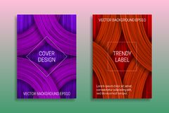 Cover templates with volumetric texture. Trendy brochure or label backgrounds in purple and orange shades.  stock illustration