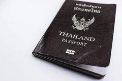 Thailand passport on white background. Cover of Thailand passport book on white background royalty free stock photography