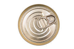 Cover the tin cans. Top view of a can food isolated. Stock Photo