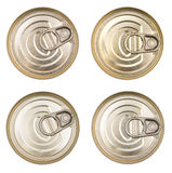 Cover the tin cans. Top view of a can food isolated. The lid of a tin can. Stock Image