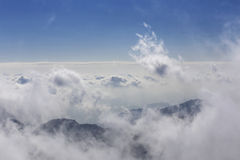 Cover the top of the mountain in the sea of clouds, huangshan wonderland in China Stock Image