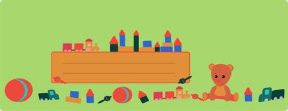 Banner with a teddy bear and a train on green background stock illustration