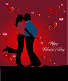 Cover for Valentine`s Day with couple kiss image Royalty Free Stock Photo