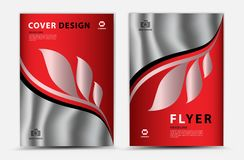 Cover vector template design, business brochure flyer, annual report, mgazine ad, advertisement, book cover, leaf background stock illustration