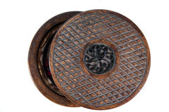 Cover of  the Vintage round case. Cover of  the vintage round wooden decorative case Stock Photo