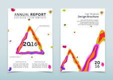 Cover of the white annual report with abstract watercolor triangle vector illustration
