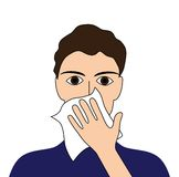 Cover Your Cough. Sick ill fever flu cold sneeze vomit disease people pictogram Stock Photos