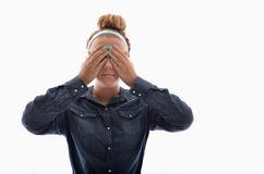 Cover your eyes Stock Photography