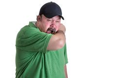 Always Cover Your Mouth when Sneeze. When Sneeze Always Cover Your Mouth With Your Arm if You Don't have a Tissue Royalty Free Stock Photo