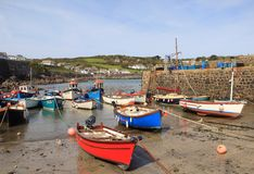 Coverack Harbor, Cornwall. Colourful boats moored up in Coverack harbour, Cornwall, UK Stock Photography