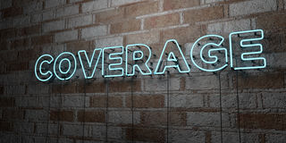 COVERAGE - Glowing Neon Sign on stonework wall - 3D rendered royalty free stock illustration Royalty Free Stock Photography