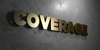 Coverage - Gold sign mounted on glossy marble wall  - 3D rendered royalty free stock illustration Royalty Free Stock Photo