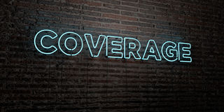 COVERAGE -Realistic Neon Sign on Brick Wall background - 3D rendered royalty free stock image Royalty Free Stock Image