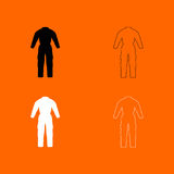 Coverall black and white set icon . Stock Photo