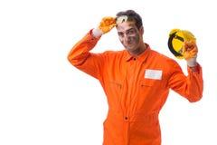 Coveralls работника подрядчика нося изолированные на белизне Стоковое Изображение