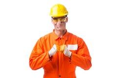 Coveralls работника подрядчика нося изолированные на белизне Стоковые Изображения RF