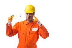 Coveralls работника подрядчика нося изолированные на белизне Стоковые Изображения