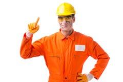 Coveralls работника подрядчика нося изолированные на белизне Стоковое Фото