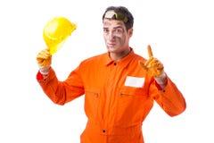 Coveralls работника подрядчика нося изолированные на белизне Стоковая Фотография
