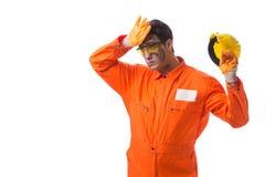 Coveralls работника подрядчика нося изолированные на белизне Стоковое фото RF