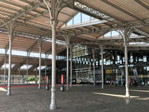 Covered arcade in front of the Grande Halle at Parc de la Villette, Paris, France Royalty Free Stock Photo