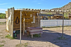 Covered area at grand canyon ranch. Small covered area at grand canyon ranch for gun fighters to hang out at royalty free stock photos