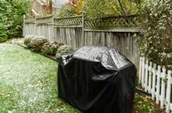 Covered Barbeque on the First Snowfall of the Year Royalty Free Stock Photography