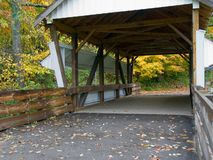 Covered Bridge. A part of a covered bridged photographed in the autumn Stock Photo