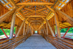 Covered bridge. Interior of a covered bridge. High dynamic range image Stock Photography