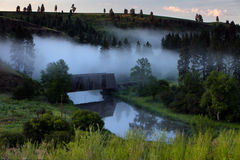 Covered Bridge. Fog Covered Bridge in Colfax, WA Stock Image