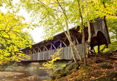 Covered bridge. In autumn located in Newry, Maine, USA Stock Image