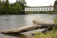 Covered Bridge Goodpasture Oregon MeKenzie River Stock Photography