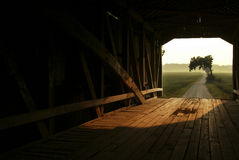 Through a Covered Bridge. Roadway and hazy summer day seen Through a Covered Bridge Royalty Free Stock Photography