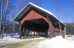 Covered bridge along Brook Road in Stowe, Vermont during the winter Royalty Free Stock Image