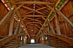 Covered Bridge Architecture. A magnificent covered bridge displays the architecture involved in the building process Royalty Free Stock Photography