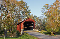 Covered Bridge in Autumn Stock Images