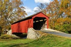 Covered Bridge in Autumn Stock Photos