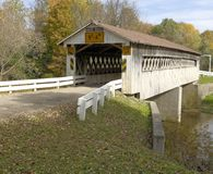 Covered Bridge. S in Northeast Ohio Counties. Early Fall season stock image